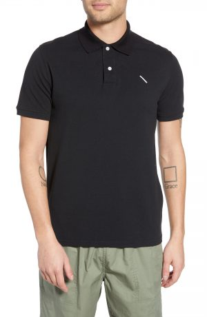Men's Saturdays Nyc Jake Pique Polo, Size Large - Black