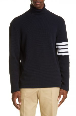 Men's Thom Browne 4-Bar Waffle Knit Turtleneck Top, Size 1 - Blue