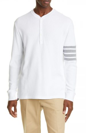 Men's Thom Browne Four Bar Waffle Weave Cotton Henley, Size 1 - White