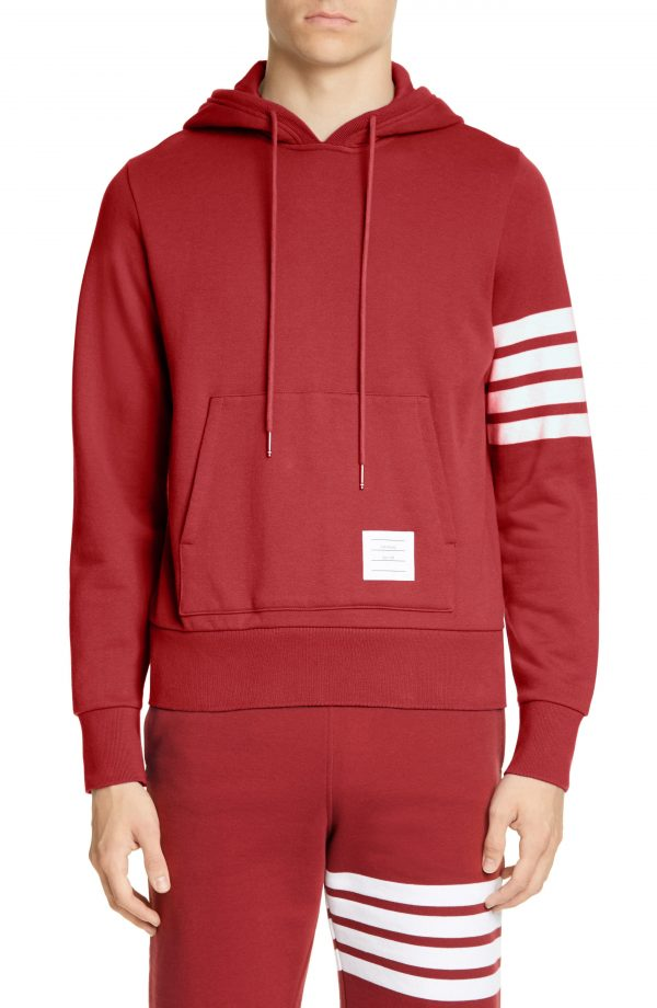 Men's Thom Browne Stripe Cotton Hoodie, Size 2 - Red