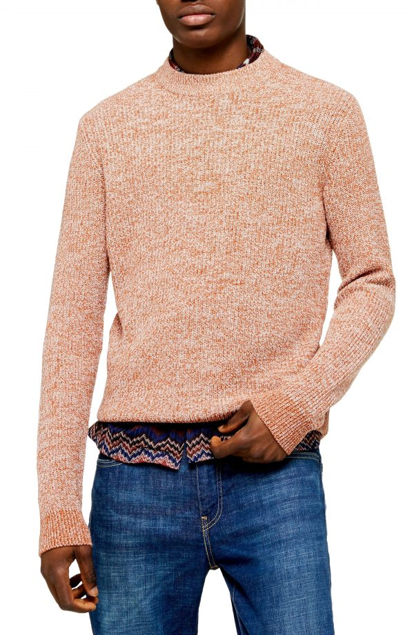 Men's Topman Classic Fit Ribbed Mock Neck Sweater, Size Large - Brown