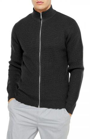 Men's Topman Classic Fit Zip Sweater, Size Large - Grey