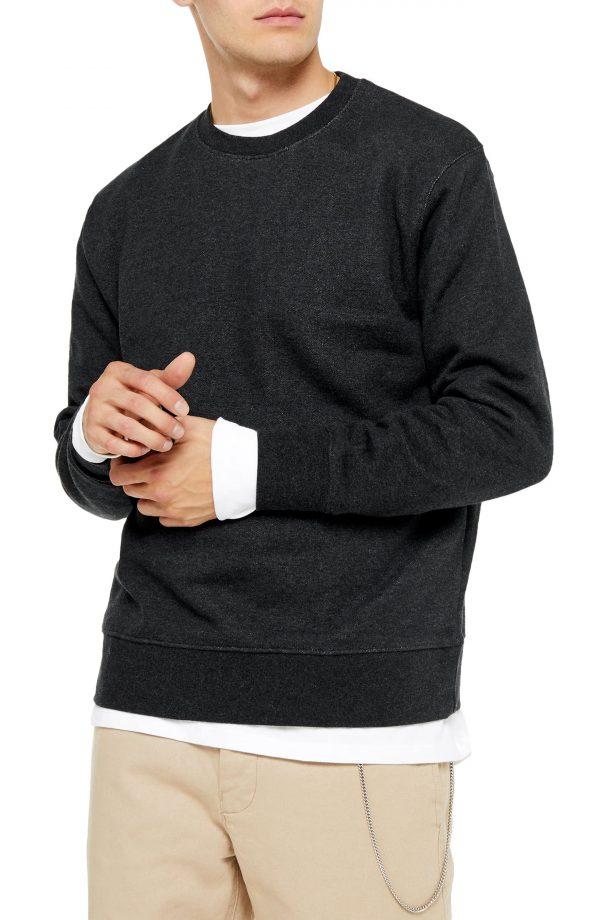Men's Topman Crewneck Sweatshirt, Size Large - Grey
