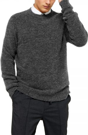 Men's Topman Harlow Classic Fit Solid Crewneck Sweater, Size Large - Grey