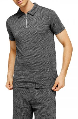 Men's Topman Prince Of Wales Check Classic Fit Zip Polo, Size Small - Grey