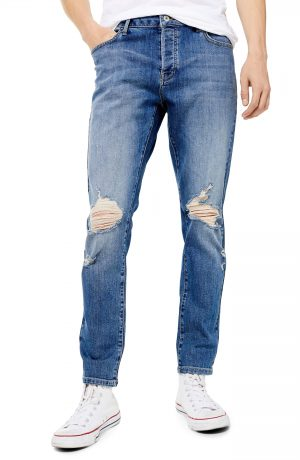 Men's Topman Ripped Stretch Skinny Fit Jeans, Size 30 x 32 - Blue