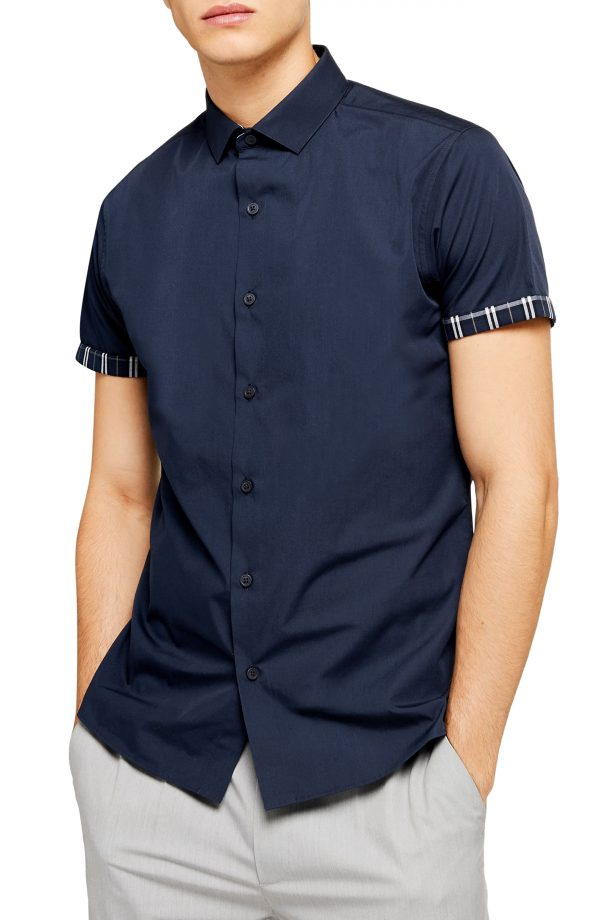 Men's Topman Slim Fit Contrast Cuff Short Sleeve Button-Up Shirt, Size Large - Blue