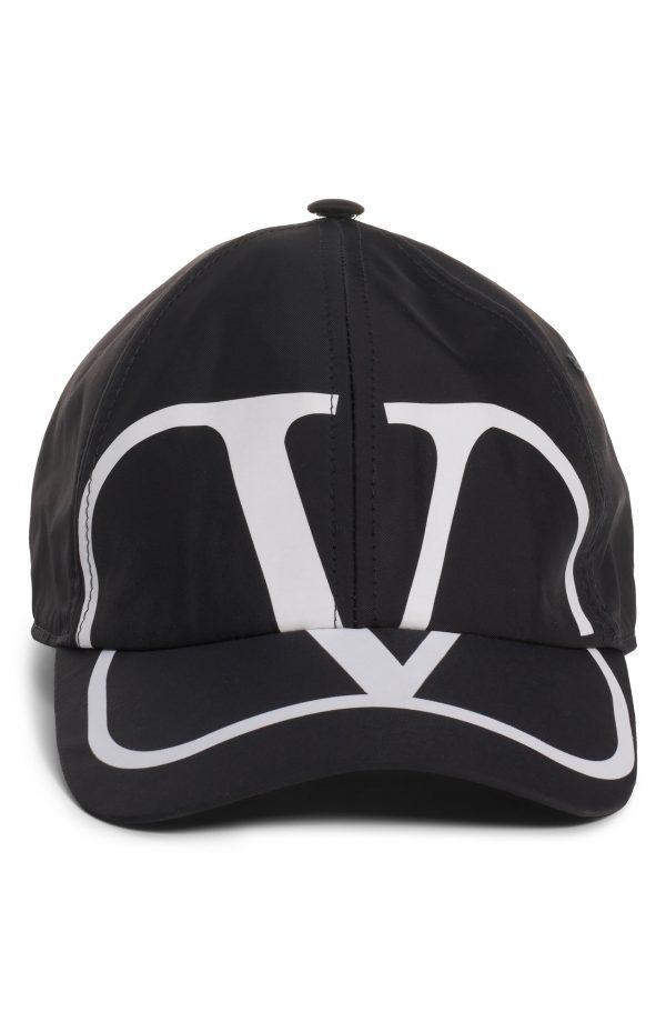 Men's Valentino V Logo Cotton Baseball Cap - Black