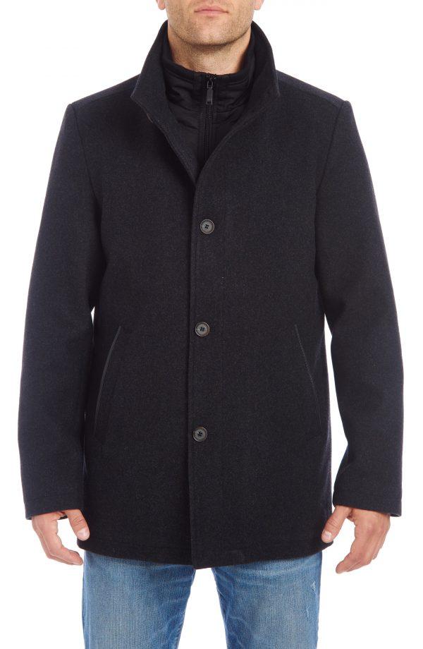 Men's Vince Camuto Short Wool Blend Car Coat, Size Small - Black