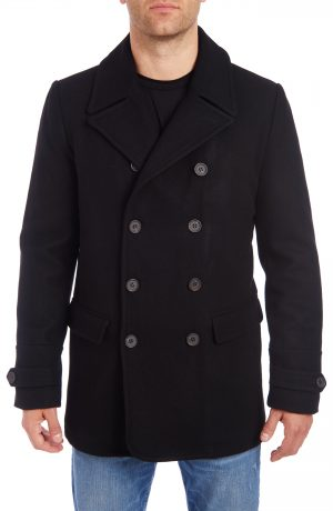 Men's Vince Camuto Water Resistant Wool Blend Peacoat, Size Small - Black