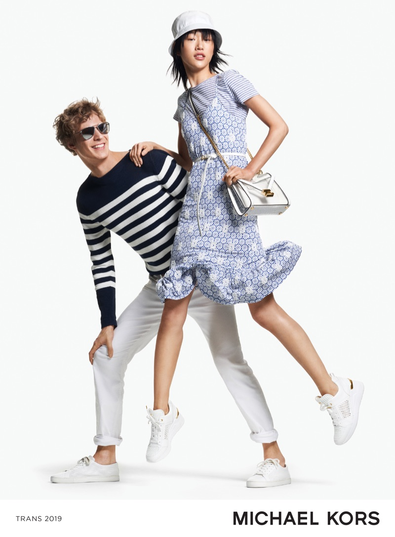 Making a case for nautical style, Sven de Vries and Sora Choi appear in Michael Kors' summer 2019 campaign.