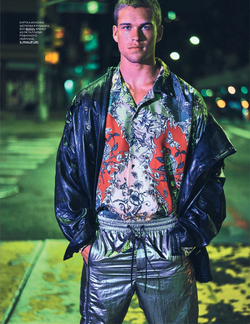 Mitchell Slaggert Embraces a Neon Night for GQ Russia