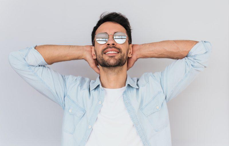 Model Smiling White Teeth Sunglasses