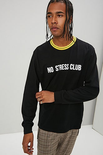 No Stress Club Graphic Tee at Forever 21 , Black/yellow