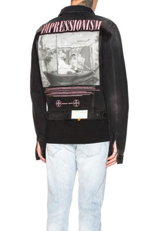 OFF-WHITE Exaggerated Denim Jacket in Black