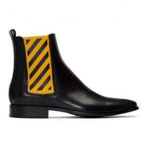 Off-White Black and Yellow Chelsea Boots