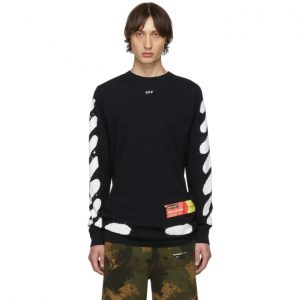 Off-White SSENSE Exclusive Black Incomplete Spray Paint Long Sleeve T-Shirt