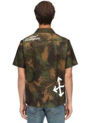 Paintbrush Printed Camo Cotton Shirt