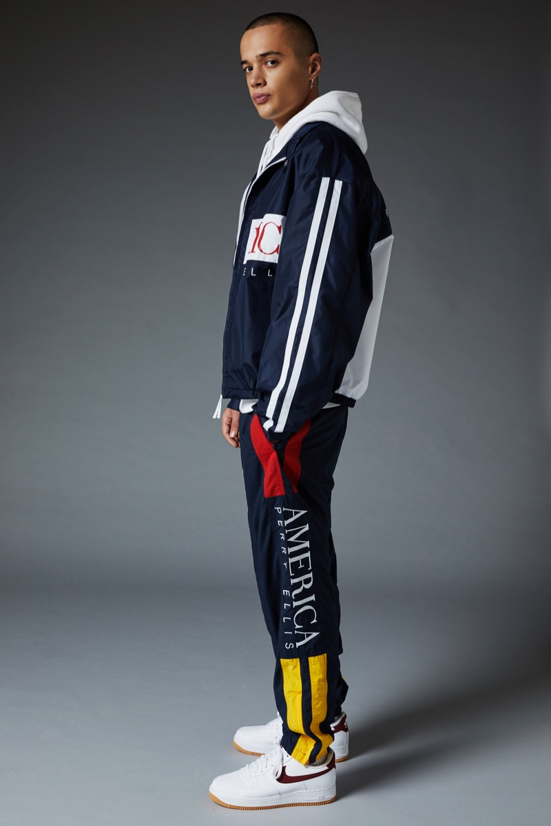 A sporty vision in navy, Lancelot Prat dons a look from the Perry Ellis America Capsule 3 collection.