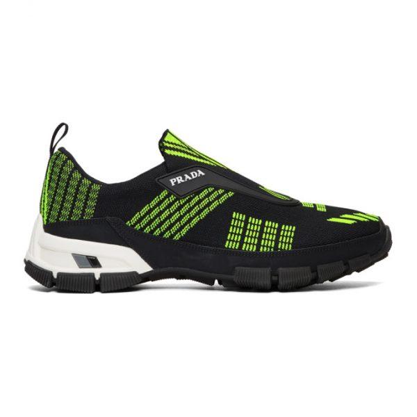 Prada Black and Green Crossection Slip-On Sneakers
