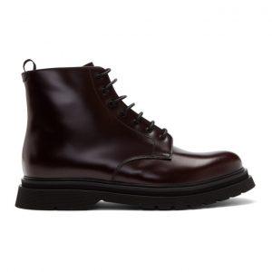 Prada Burgundy Lace-Up Boots