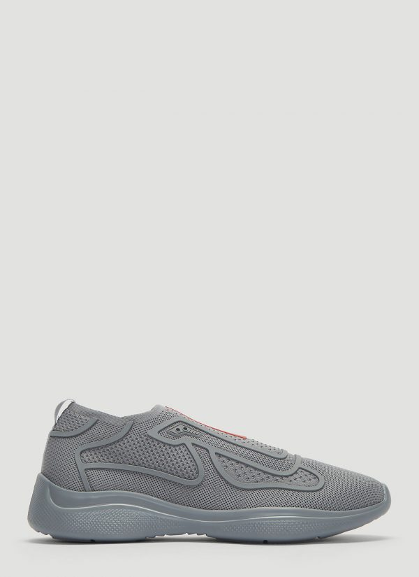 Prada New America's Cup Sports Knit Sneakers in Grey size UK - 06
