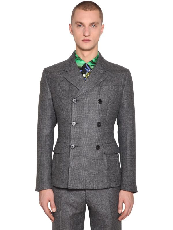 Prince Wales Double Breast Wool Jacket