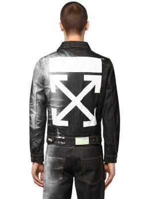 Printed Slim Cotton Denim Jacket