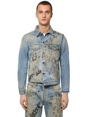 Printed Slim Deconstructed Denim Jacket