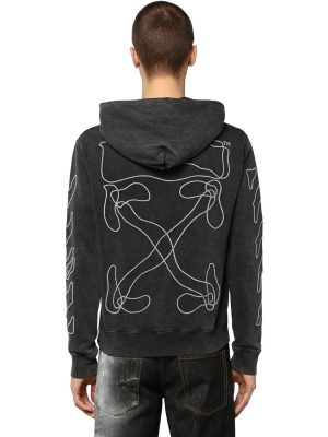 Printed & Embroidered Cotton Hoodie
