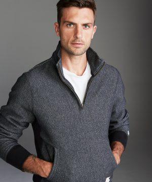 Quarter Zip Sweatshirt in Black Pepper Charcoal