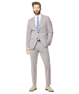 Red and Navy Cotton Check Sutton Suit Jacket