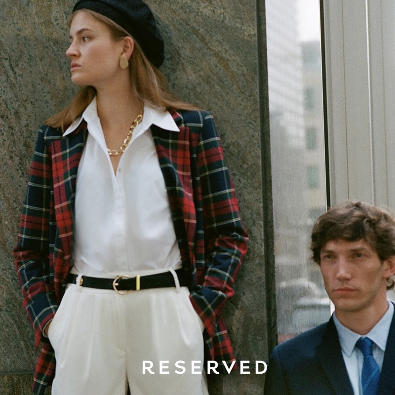 Models Molly Smith and Thilo Muller sport professional looks from Reserved.