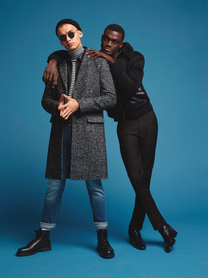 Taking to the studio, Dom Stowell and Davidson Obennebo star in River Island's fall-winter 2019 campaign.