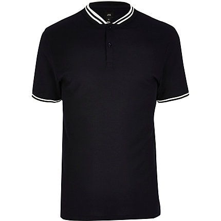 River Island Mens Big and Tall navy slim fit tipped polo shirt