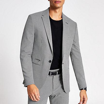 River Island Mens Black mono print skinny suit jacket