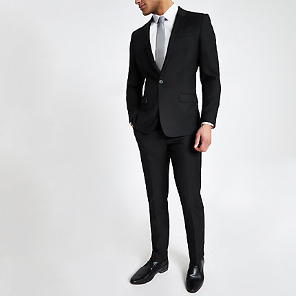 River Island Mens Black slim fit suit trousers