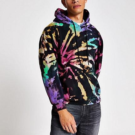 River Island Mens Black tie dye long sleeve hoodie