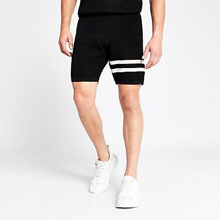 River Island Mens Black waffle slim fit stripe shorts
