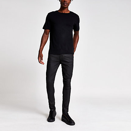 River Island Mens Brown leopard print Danny super skinny jeans