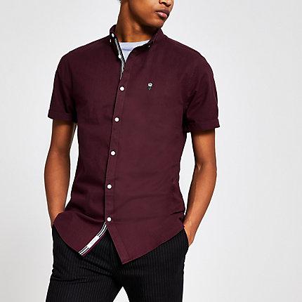 River Island Mens Dark red slim fit short sleeve Oxford shirt