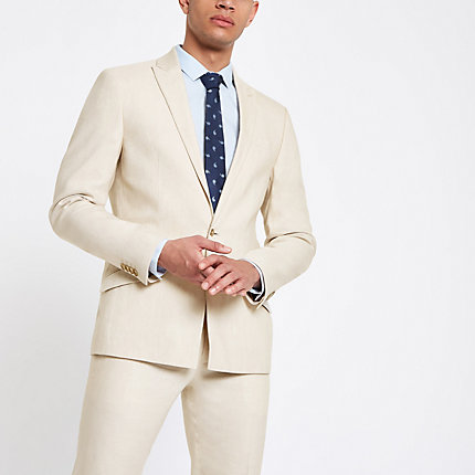 River Island Mens Ecru linen skinny suit jacket