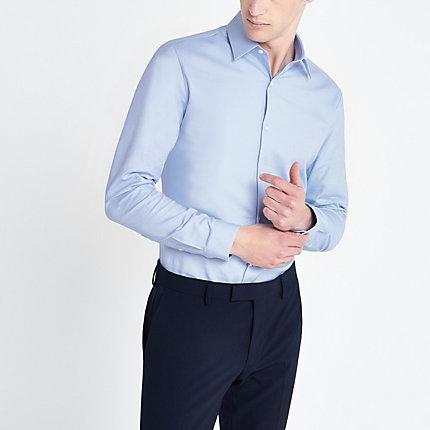 River Island Mens Light blue slim fit long sleeve shirt