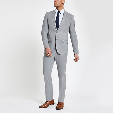 River Island Mens Light grey slim fit suit trousers
