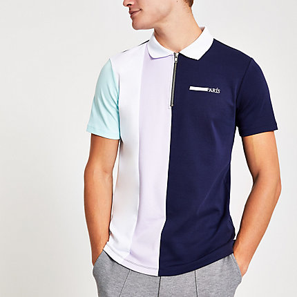 River Island Mens Navy block colour zip front polo shirt