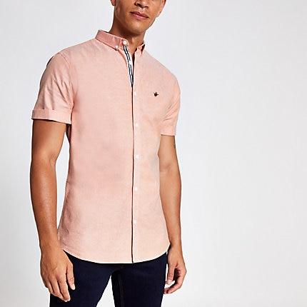 River Island Mens Orange slim fit short sleeve Oxford shirt