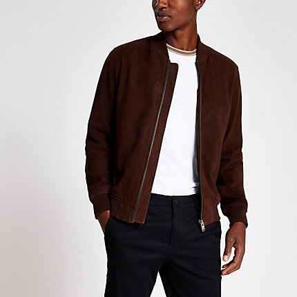 River Island Mens Selected Homme dark brown suede bomber jacket