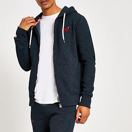 River Island Mens Superdry navy Orange Label zip through hoodie