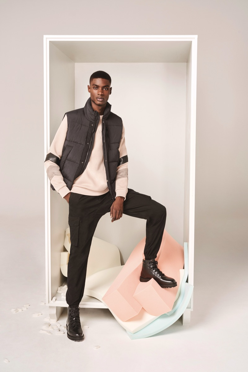 Making a case for cargo pants, Rachide Embaló wears River Island's black Hardy trousers $76.