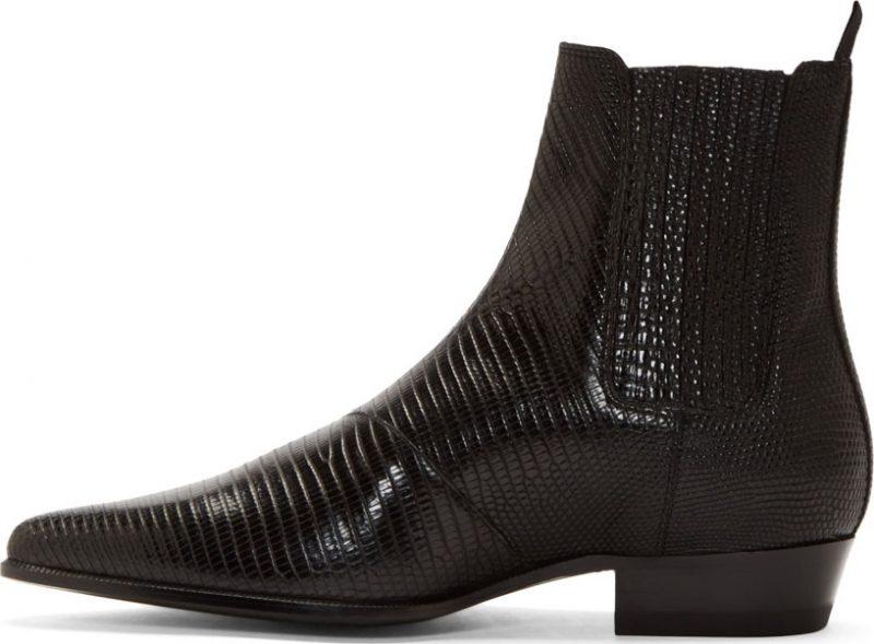 Saint Laurent Black Leather Lizard Boots